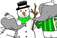 Lámina de Babar y Muñeco de nieve